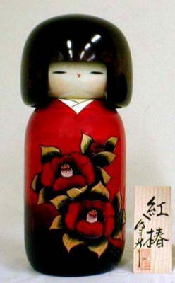 Kokeshi Jeunes filles (+ de 14 cm)  Benitsubaki (L) (25cm)