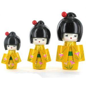 Kokeshi Chinoise  Lot De 3 Kokeshi Chinoises Jaunes Modèle N°2 (14, 12 Et 9cm)