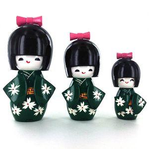 Kokeshi Chinoise  Lot De 3 Kokeshi Chinoises Vertes - B - (14, 12 Et 9cm)