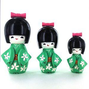 Kokeshi Chinoise  Lot De 3 Kokeshi Chinoises Vertes - A - (14, 12 Et 9cm)