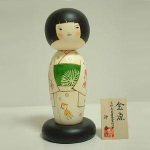 Kokeshi Jeunes filles (+ de 14 cm)  Goldfish (24cm)