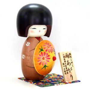 Kokeshi Jeunes filles (+ de 14 cm)  Ameagari Brown (16cm)