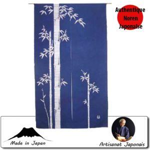Univers Kokeshi  Noren Bamboo, Fond Bleu (85 X 150cm)
