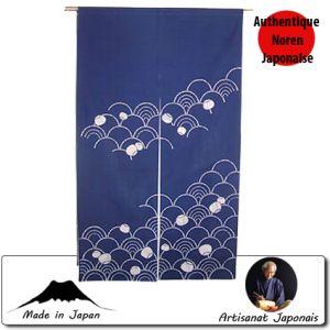 Univers Kokeshi  Noren Vagues, Fond Bleu (85 X 150cm)