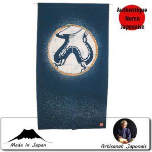 Univers Kokeshi  Noren Dragon, Fond Bleu (85 X 150cm)